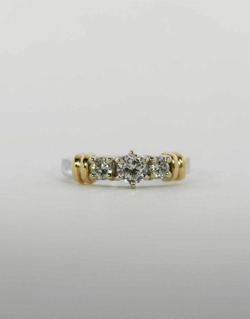 American Jewelry 14k White & Yellow Gold .40ct-Ctr 2/3ctw Round Brilliant Diamond Past, Present & Future Engagement Ring (Size 7)