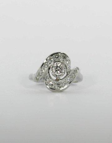 American Jewelry Platinum 1/2ctw Transitional Cut & Single Cut Diamond Vintage Engagement Ring (Size 3.25)