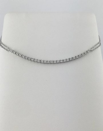 American Jewelry 14k White Gold .42ctw Diamond Adjustable Cable Chain Bracelet 6-7""