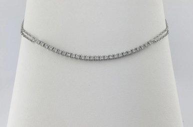 "14k White Gold .42ctw Diamond Adjustable Cable Chain Bracelet 6-7"""