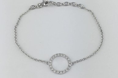 "14k White Gold .35ctw Diamond Open Circle Adjustable Cable Chain Bracelet (6-7"")"