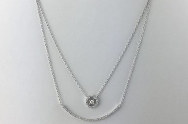 """18k White Gold .40ctw Diamond Duo Curved Compass Layered Necklace 18"""""""