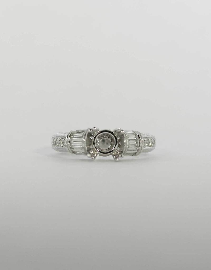 14K White Gold .60ctw Semi Mount Engagement Ring with ...