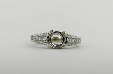 PLAT 1CTW SEMI MOUNT ENGAGEMENT RING WITH ROUND BRILLIANTS