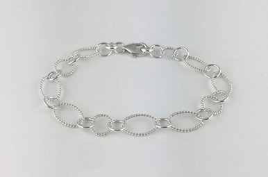 Sterling Silver Single Oval Link Bracelet 7.5""