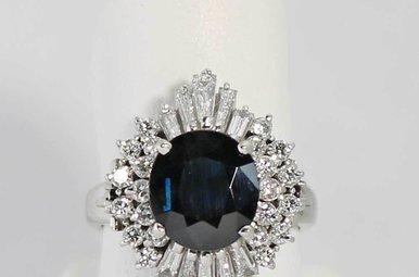 PLAT 1CTW-DIA 3.15CT-SA BLUE SAPPHIRE & DIAMOND RING