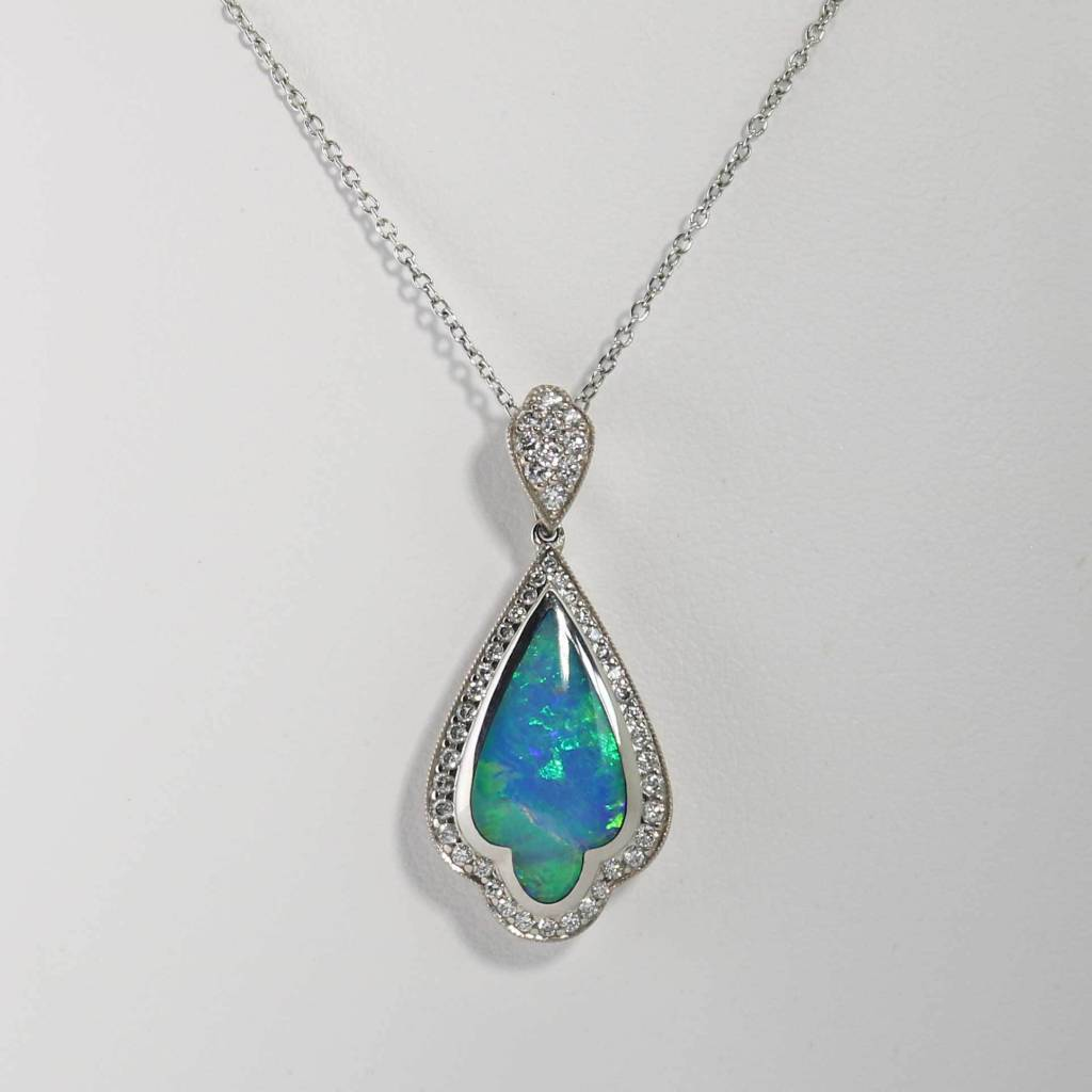 18K White Gold Kabana Pendant with Opal & .29ctw Diamonds ...