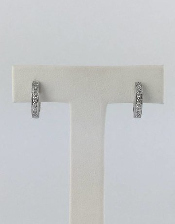 14k White Gold .07ctw Diamond Milgrain Huggie Hoop Earrings