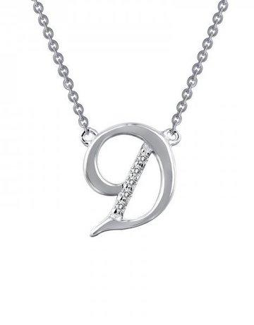 "Lafonn Lafonn D Initial Necklace, Simulated Diamonds .05ctw, Sterling Silver - 18"""