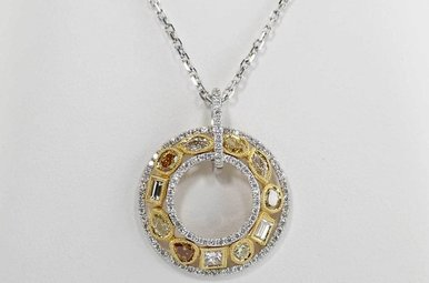 18KW/Y 1.6CTW PARADE PENDANT WITH YELLOW, AMBER, CHAMPAGNE & WHITE DIAMONDS