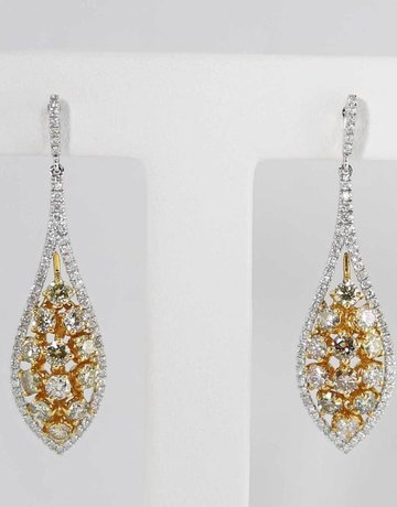 14KW/Y 2.43CTW DANGLE DIAMOND EARRINGS WITH WHITE & CHAMPAGNE ROUND BRILLIANTS