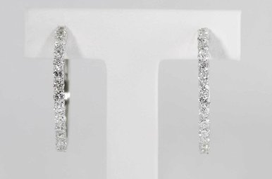 14KW 2CTW ROUND BRILLIANT DIAMOND HOOP EARRINGS