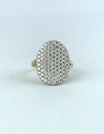 American Jewelry 14k Two Tone White/Yellow Gold 2.08ctw Diamond Pave Concaved Signet Ring (Size