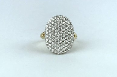 14k Two Tone White/Yellow Gold 2.08ctw Diamond Pave Concaved Signet Ring (Size