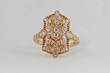 18KR 1/2CTW VINTAGE STYLE LADIES DIAMOND RING