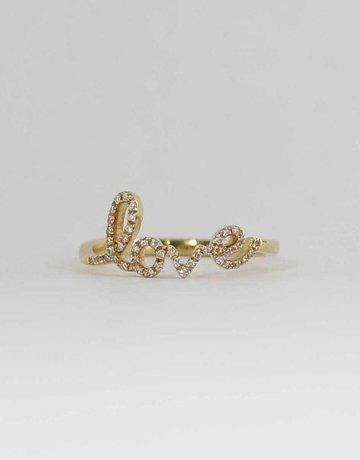 American Jewelry 14k Yellow Gold .14CTW LADIES DIAMOND LOVE RING