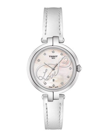 Tissot Tissot Valentine Flamingo Ladies Watch with Mother of Pearl Dial & White Leather Strap