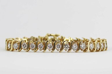 14KY 8CTW LADIES BRACELET WITH ROUND BRILLIANT DIAMONDS