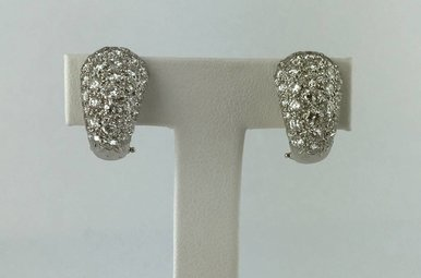 14k White Gold 2.70ctw Diamond Pave Clip-on Earrings
