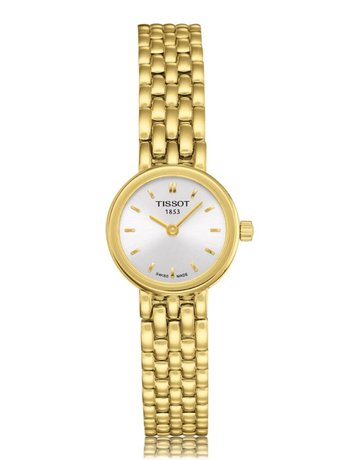 American Jewelry Tissot T-Lady Lovely Ladies Gold Tone Watch with Silver Dial