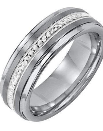 American Jewelry Tungsten & Sterling Silver 7mm Gents Triton Wedding Band (Size 10)