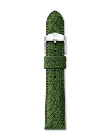Michele Michele 18mm Dark Green Saffiano Leather Strap