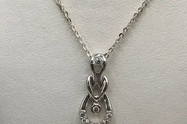 """Sterling Silver1/8ctw Dia Necklace w/18"""" Chain"""