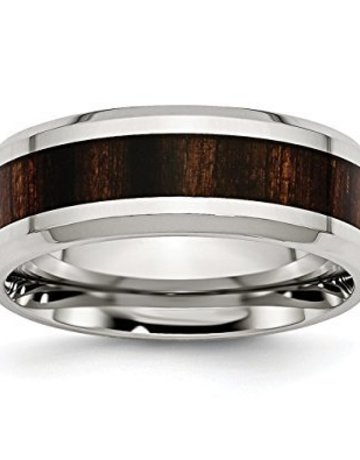 American Jewelry Stainless Steel & Wood Inlay 8mm Gents Wedding Band (Size 8.5)