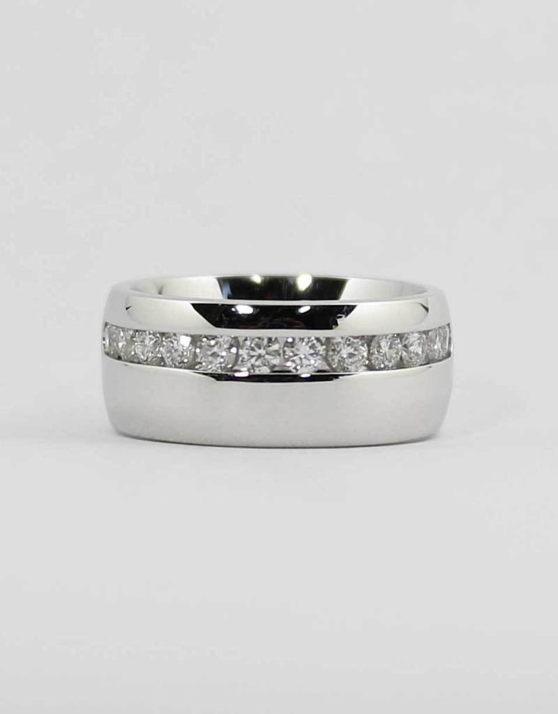 14k White Gold Wide Ladies Channel Wedding Band With 3 4ctw Round Brilliant Diamonds
