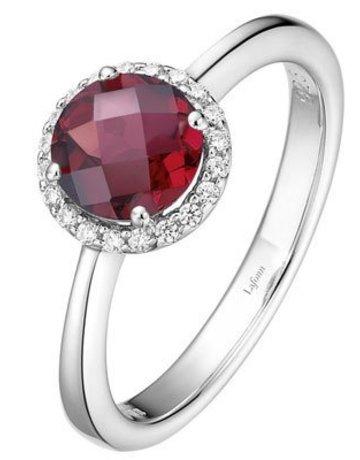 Lafonn Lafonn January Birthstone Ring, Garnet & Simulated Diamonds 1.05ctw, Sterling Silver