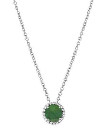"""Lafonn Lafonn May Birthstone Pendant, Simulated Emerald & Diamonds 1.05ctw, Sterling Silver - 18"""""""
