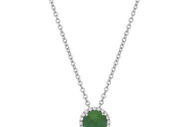 Lafonn May Birthstone Pendant, Simulated Emerald & Diamonds 1.05ctw, Sterling Silver
