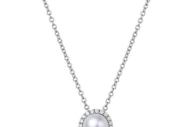 Lafonn June Birthstone Pendant, Pearl & Simulated Diamonds .20ctw, Sterling Silver