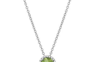 Lafonn August Birthstone Pendant, Peridot & Simulated Diamonds 1.05ctw, Sterling Silver