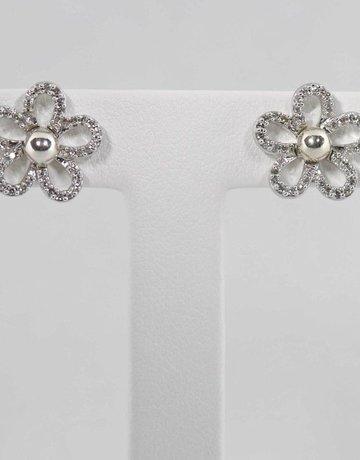 14KW .33CTW DIAMOND FLOWER EARRING JACKETS
