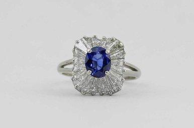 PLAT BLUE SAPPHIRE & BAGUETTE DIAMOND LADIES BALLERINA RING