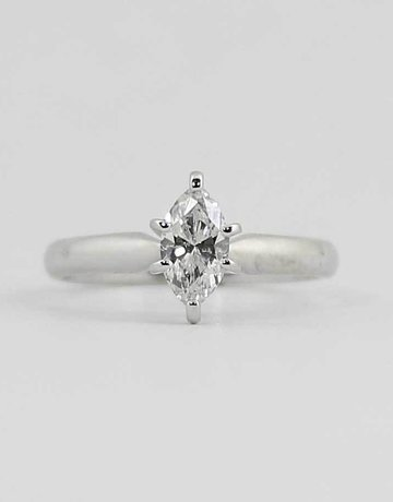 American Jewelry 18KW SI2/I-J 5/8CT MARQUISE DIAMOND SOLITAIRE ENGAGEMENT RING