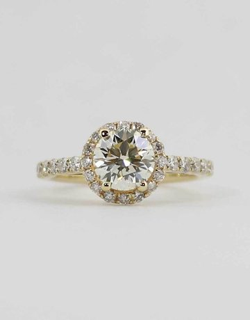 American Jewelry 14k Yellow Gold 1.51ct-Ctr (L-M/VS1) 2.11ctw Round Brilliant Diamond Halo Engagement Ring (Size 6)