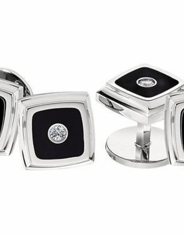 American Jewelry STAINLESS STEEL & DIAMOND TUXEDO STUD SET