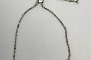 Sterling Silver .10ctw Dia Adjustable Bracelet