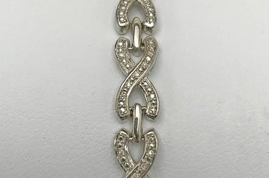 Sterling Silver .12ctw Dia Infinity Bracelet