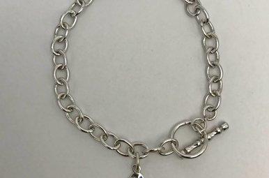 Sterling Silver & CZ Hershey's Kiss Bracelet