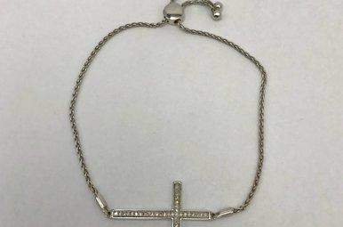 Sterling Silver .10ctw Dia Cross Bracelet