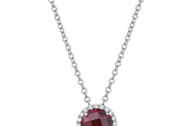 Lafonn January Birthstone Pendant, Garnet & Simulated Diamonds 1.05ctw, Sterling Silver