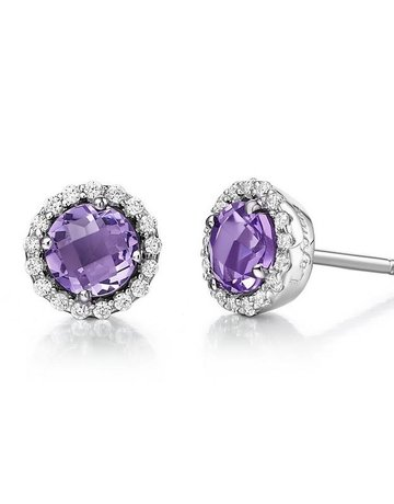 Lafonn Lafonn February Birthstone Earrings, Amethyst & Simulated Diamonds 1.26ctw, Sterling Silver