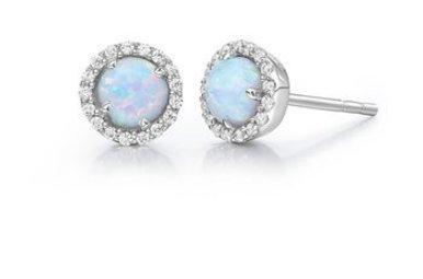 Lafonn October Birthstone Earrings, Simulated Opal & Diamonds .34ctw, Sterling Silver
