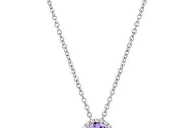 Lafonn 1.05ctw Sim Diamond Amethyst Halo Necklace