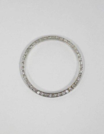 American Jewelry 14KW 1CTW BEZEL FOR GENTS ROLEX WITH BEAD SET ROUND BRILLIANT DIAMONDS