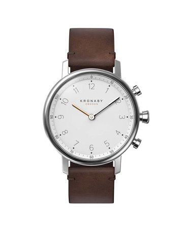 Kronaby Kronaby Nord 38mm - Silver, Dark Brown Leather Watch A1000-0711
