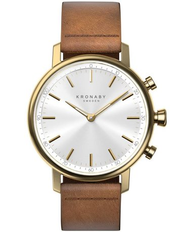 Kronaby Kronaby Carat 38mm - Gold Tone, Brown Leather Band Watch A1000-0717
